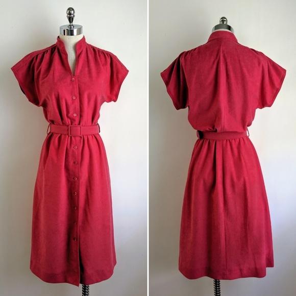 Vintage Dresses & Skirts - vintage 80's hot pink pleated button front dress